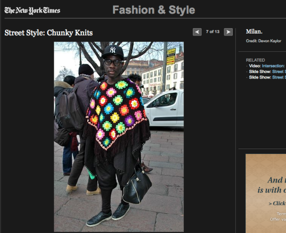 FCP in The New York Times Street Style: Chunky Knits