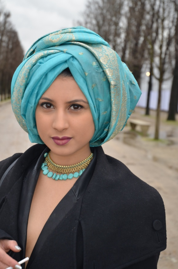 Turquoise Turban - Paris Fashion Week a/w 2014