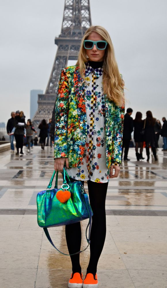 Bright Floral  vs. Rainy Parisian Day - Paris Fashion Week AW 2014